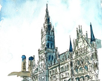 Munich City Hall with Church of Our Lady Watercolor Painting - Limited Edition Fine Art Print
