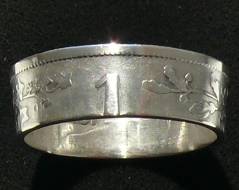 Silver Coin Ring 1904 Belgium 1 Frank, Ring Size 7 and Double Sided