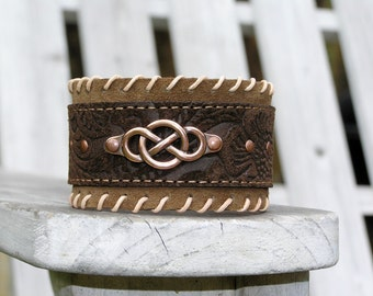 Celtic Knot Cuff Bracelet in Copper on Brown Daisies Leather & Tan Suede