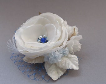 Wedding Bridal Hair Fascinator Ivory Blue Flower Hairpiece Feather Veil Headpiece Hair Clip Vintage Style Blue Saphire Rhinestones Pearls