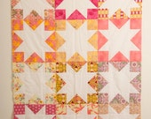 Modern Star Quilt, Handmade Quilt, Negative Space Quilt, Art Gallery Quilt, Pink Orange Yellow and Purple Quilt, Lap Quilt