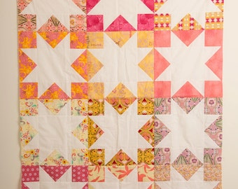 Modern Star Quilt, Handmade Quilt, Negative Space Quilt, Art Gallery Quilt, Pink Orange Yellow and Purple Quilt, Lap Quilt