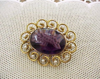 Beautiful 10K Victorian Brooch with Tiny Seed Pearls and Purple Stone