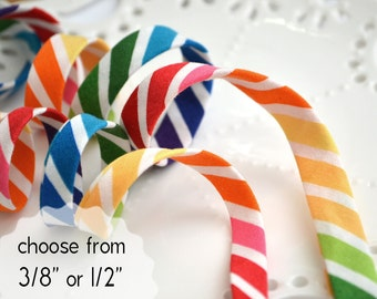 """rainbow stripes - double fold, bias tape - 3 yards, CHOOSE 3/8"""" or 1/2"""" wide"""
