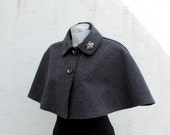 Womens cape. Slate grey wool cropped cape.Dark grey capelet. Detachable bug brooch. Fully lined.Available Size S-M-L-XL.