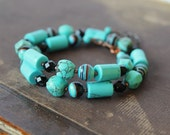 Blue Turquoise Bracelet Turquoise Jewelry Wrap Bracelet Turquoise Black Copper Bracele Boho style jewelry Ethnic Tribal jewelry