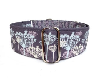 "Silver Meadow Dog Collar - 1"" or 1.5"" Steel Grey, Lilac, Powder Blue Flowers and Leaves Martingale Collar or Adjustable Buckle Dog Collar"