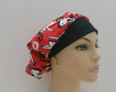 Bouffant Cap/Medical Scrub Hat -   Betty Boop and Stamp Lips - Red - Black Rim  - 100 % cotton