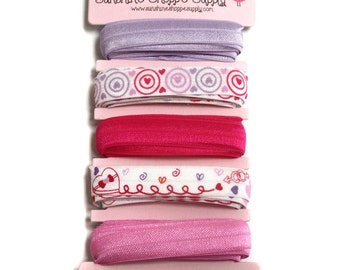 Valentine FOE, 5/8th inch Fold Over Elastic 5 Color Bundle for Headbands and Hair ties- - Candy Hearts FOE