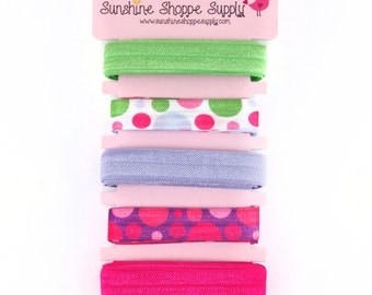 Fold Over Elastic (FOE) 5 Color Bundle, Satin Elastic for Headbands and Hair Ties - 3 Ring Circus