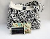 Black damask purse, shoulder purse, pleated purse, tote bag, canvas purse, canvas bag, summer purse, cotton purse, bridal bag