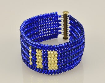 Blue and Gold Beaded Bracelet - Ndebele Stitch Beadwork Cuff - Glass Seed Beads