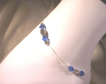 Anklet, 6mm Royal blue crystal bead stretch anklet, stretch cord 9 inches, sterling clasp  FREE shipping USA orders only