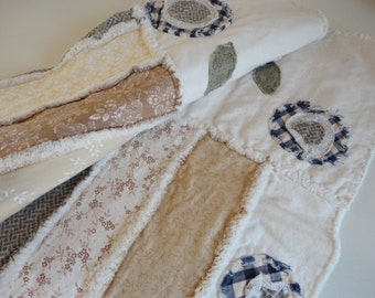 French Country Quilt Rag Quilt Rustic Country Decor Large Throw Blanket