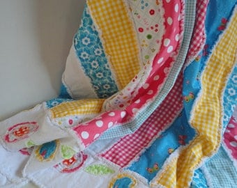 Patchwork Lap Rag Quilt, Homemade Quilt, Country Quilt, Throw Quilt,  Rag Quilts, FREE SHIPPING
