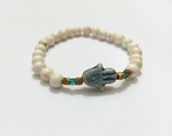 Blue Ceramic Hamsa Beaded Bracelet
