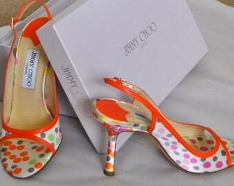 Final25%OFF Jimmy Choo Shoes Designer High Heel Shoes Polkadot Sandals 90s Slingback Vintage Womens Pumps Leather Chaussure femme Size 36 6