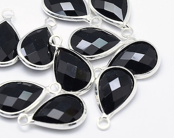10pcs Black Glass Tear Drop Pendant, Faceted, Silver Frame, 10 pcs 18x11mm, Bulk DIY Jewelry Making Supplies