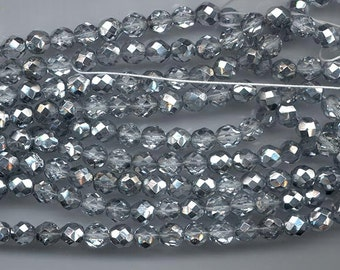 Two 8-inch strands (about 50 beads) 8 mm crystal/metallic darker silver firepolished Czech beads - lot 893