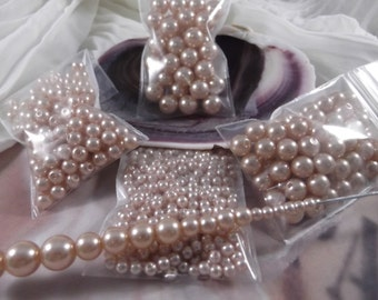 4mm,6mm,8mm,10mm --- Champagne Faux Loose Pearls --- 4 bags