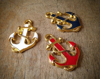 3 Pcs Anchor Charms Mixed color GOLD Anchor Rope Charm Nautical Charm Vintage Style Pendant (K006)