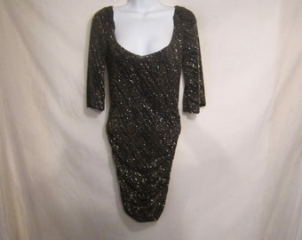 80's Gold and Black Metallic Ruche Evening Dress