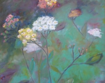 California Wild Flower Oil Painting / 24 X 24 / Original Oil from Big Sur Meadow