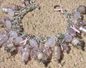 PINK HOPE Breast Cancer Awareness Charm Bracelet ooak
