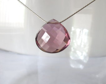 Plum Quartz Sterling Silver Necklace