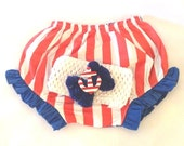 0-6 Mth  4th of July Bloomers n Headband.....4th July Patriotic Photo Prop,Infant Girl 4th of July,Patriotic Bloomers,red white diaper cover