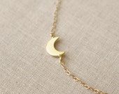Gold Moon Necklace, Sideways Gold Moon Necklace, Tiny Gold Moon Necklace, Crescent Necklace, 14k Gold Filled Chain, Moon Charm, Moon Pendant