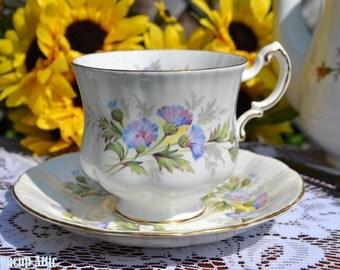 Paragon Teacup and Saucer English Flowers Thistles, Fine English Bone China Tea Cup And Saucer Set, English Garden Tea Party, ca. 1957-1960