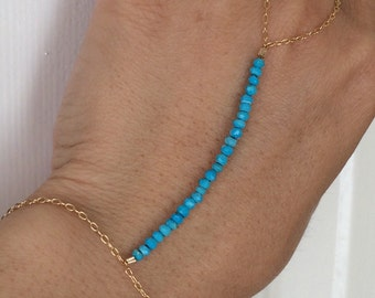Turquoise Gemstone Beaded Gold Hand Chain also available in Silver and Rose Gold