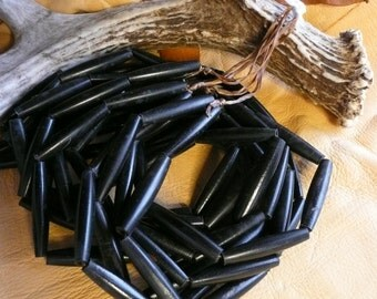 "Native American Style 1.5"" Black Hair Pipe Beads  15 pcs."