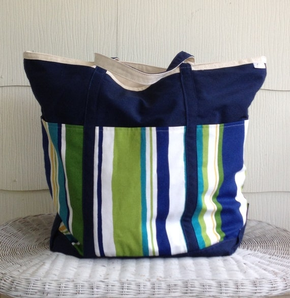 Extra Large Striped Beach Bag Extra Large Diaper Bag Extra