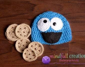 Newborn Inspired by Cookie Monster Beanie with cookies