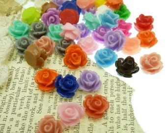 10 mixed color shiny resin rose cabochons 9 mm x 5 mm