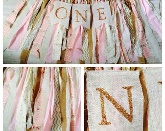 Shabby Chic First 1st One Birthday Banner Gold Pink Burlap Bunting Photo Prop back drop