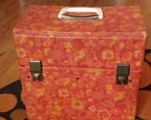 "Vintage record  storage case LP 33"" mod music flower power"