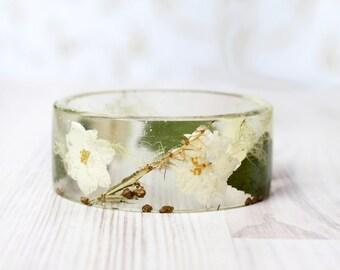 White Larkspur bracelet - Epoxy resin bracelet - Real flower Bracelet