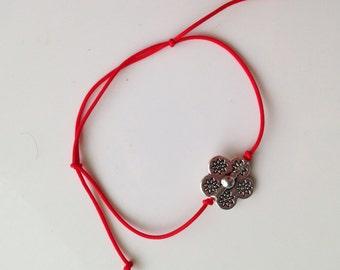 Red String Kabbalah Bracelets Silver Flower Decor Adjustable Bracelet Handmade Anti Evil Eye Thread of Fate Wrist Mati Hamsa Unisex Bracelet