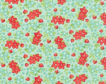 Hello Darling - Tiny Bouquet in Aqua - Bonnie and Camille for Moda - 55118 12 - 1/2 yard