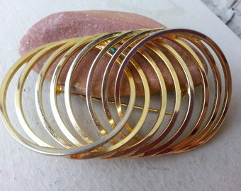 Vintage Modernist Gold Circles within Circles Geometric Brooch Pin Jewelry Jewellery, Multiple Circles Brooch, Gold Circle Pin