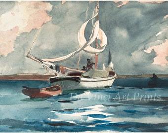 Winslow Homer Watercolor Reproductions. Sloop, Nassau,1899. Fine Art Print.