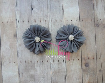 Charcoal Grey Gray Chiffon Flowers with Rhinestone Buttons Piggy Hair Bow Clips For Newborns, Girls, Toddlers, Babies, Teens