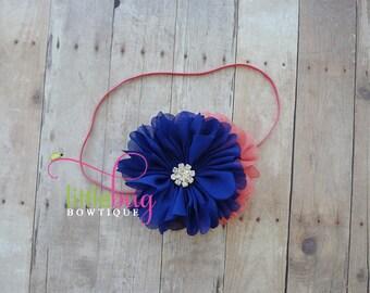 Clear Rhinestone on Navy Blue and Coral Salmon Chiffon Flowers on Skinny Headband Photography Prop for Newborns, Babies, Girls, Teens
