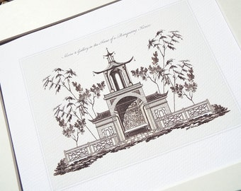 Chinoiserie Art Architectural Drawing of Garden Alcove Archival Print on Watercolor Paper