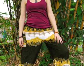 Thai  Pants Batik Cotton, Green, Yellow and White with Elephant pattern Design, Ribbon Waistband (S-M-L) one size fits all
