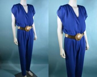Vintage Royal Blue V Neckline Jumpsuit, 70s/80s Disco Pants, Summer Party Onsie Jumpsuit S/M