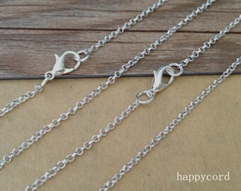 100pcs  20inch silver corol (copper) Link chain With Lobster Clasp 2mm